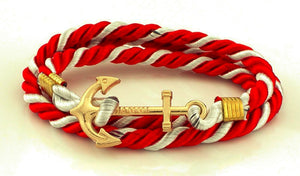 ANCHOR BRACELET RED AND WHITE