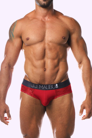 J.J. MALIBU JJ FLORAL BRIEFS - RED ROSE