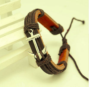 BROWN LEATHER BRACELET ANCHOR