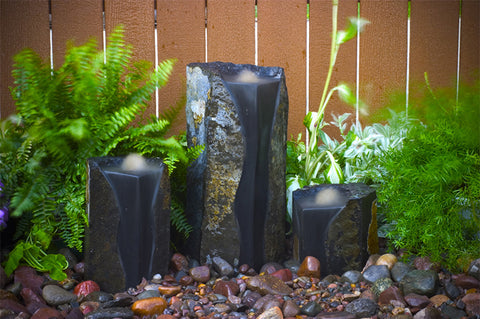 "Aquascape - Double Textured Basalt Cored Water Columns (Set of 3) - 8"", 13"" and 20"""