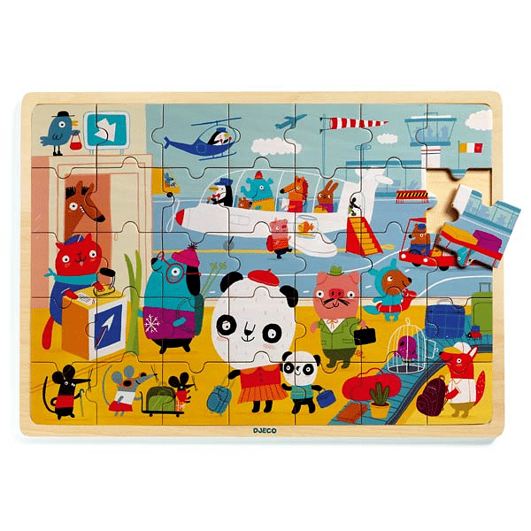 DJECO Puzzlo Airport 35 pce Wooden Tray Puzzle - Fairy Kitten