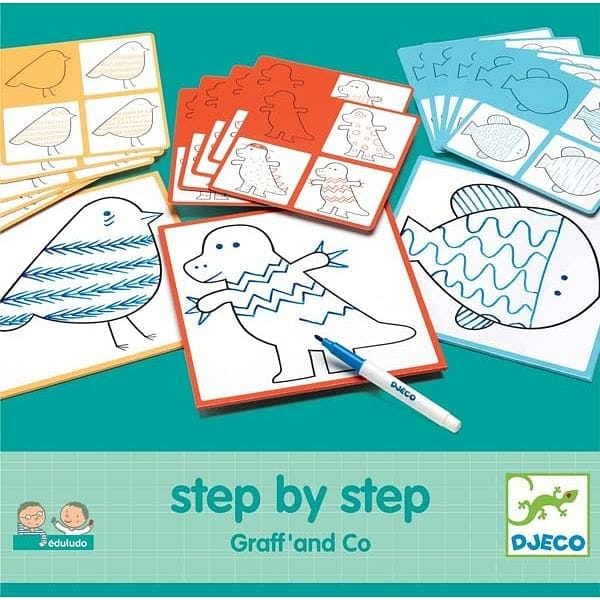 DJECO Eduludo Step By Step Graff' ja Co joonistuskomplekt - Fairy Kitten