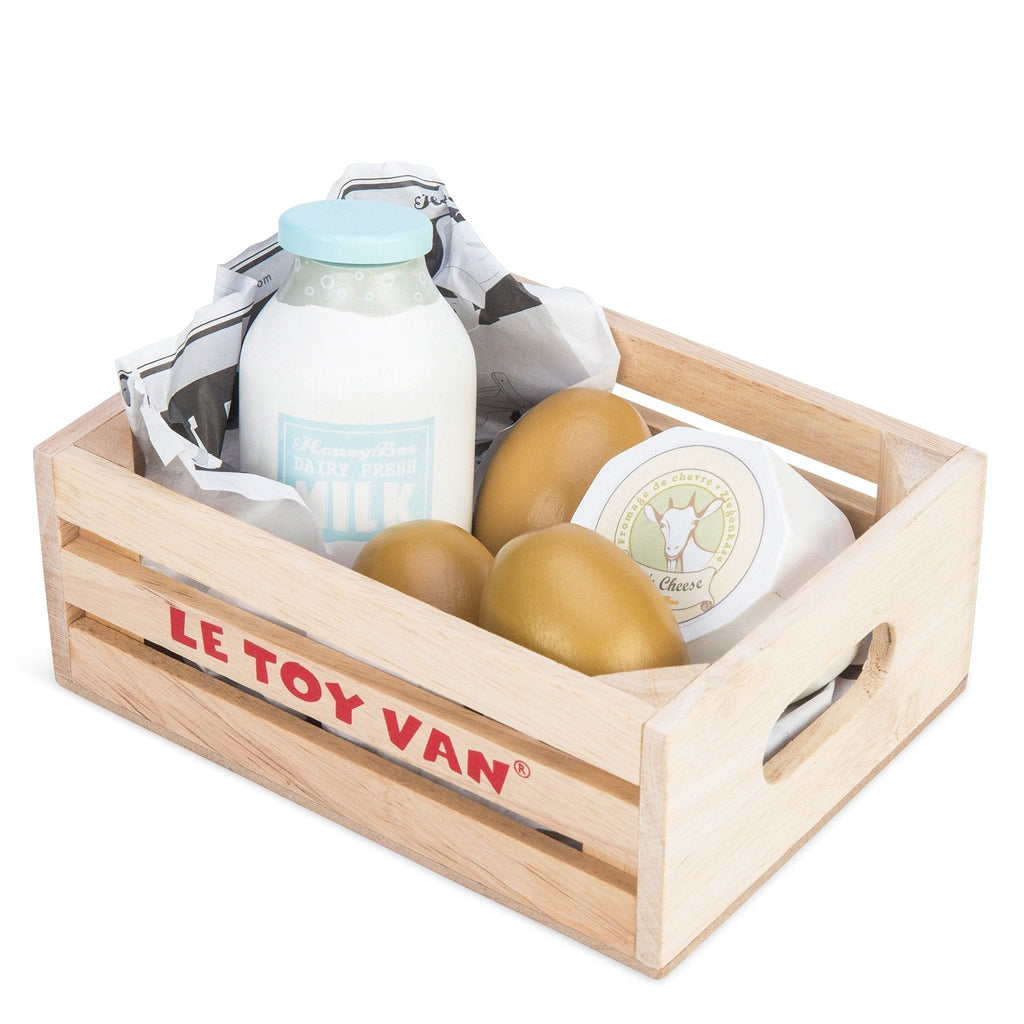 Le Toy Van TV185 Cheese & Dairy Market Crate - Fairy Kitten