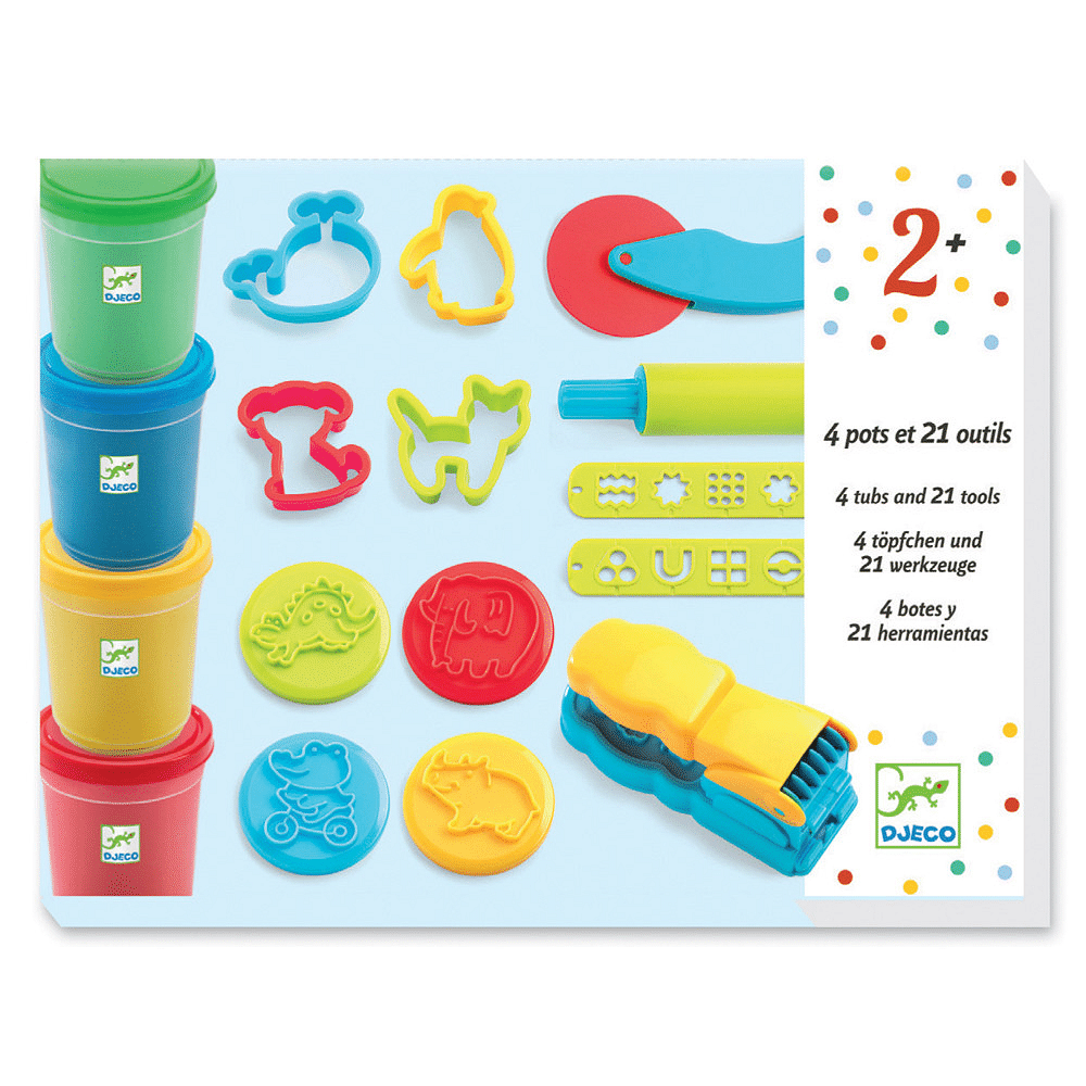 DJECO Dough Starter Set 4 Tubs / 21 Tools - Fairy Kitten