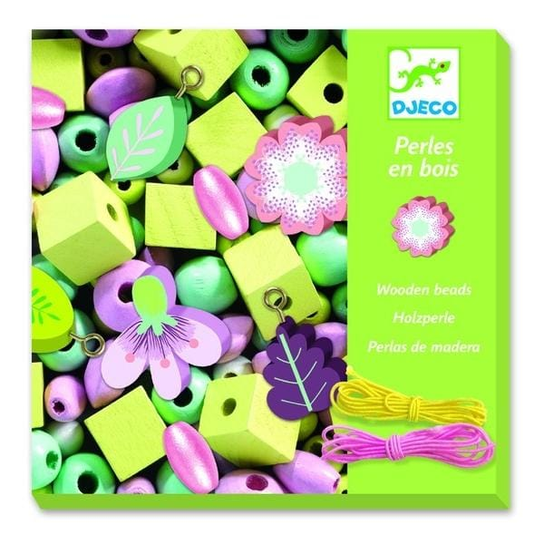 DJECO DJ09808 Wooden beads - leaves and flowers - Fairy Kitten
