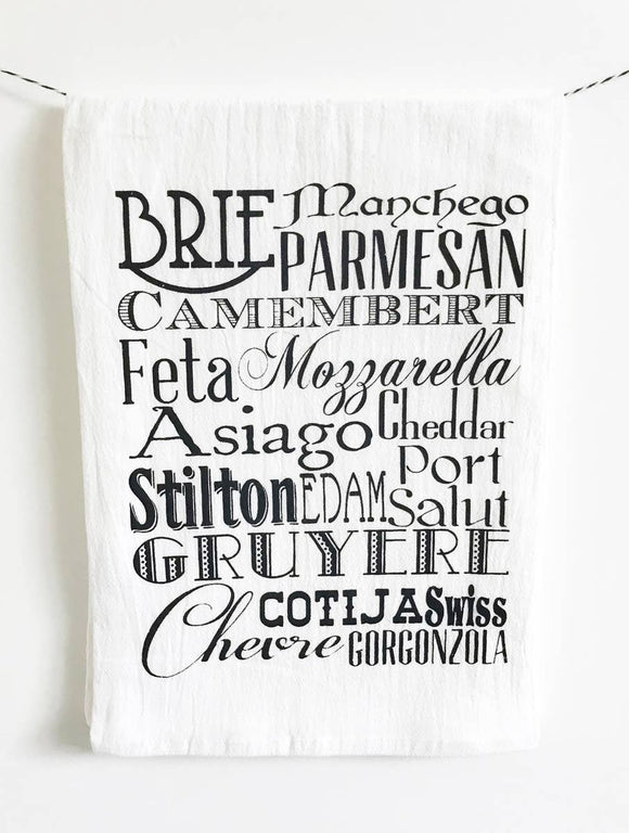 Cheese Words Tea Towel