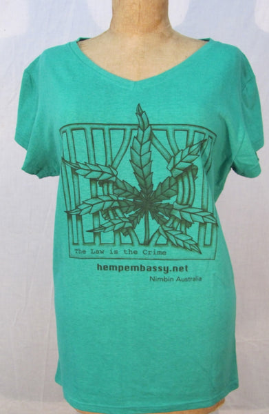 Women's Longline Fit Hemp T Shirt - The Law is the Crime