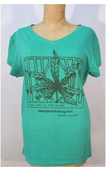 Hemp Clothing Australia - Women's T Shirt / Good Medicine - The Law Is The Crime