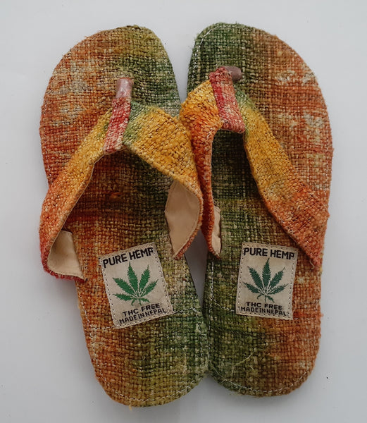Handmade Colorful Nepalese Hemp Sandals / Thongs / Slides / Flip-flops / Jandals - Orange & Green Tie-Dye