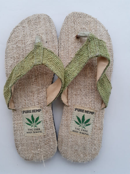 Handmade Colorful Nepalese Hemp Sandals / Thongs / Slides / Flip-flops / Jandals - Green
