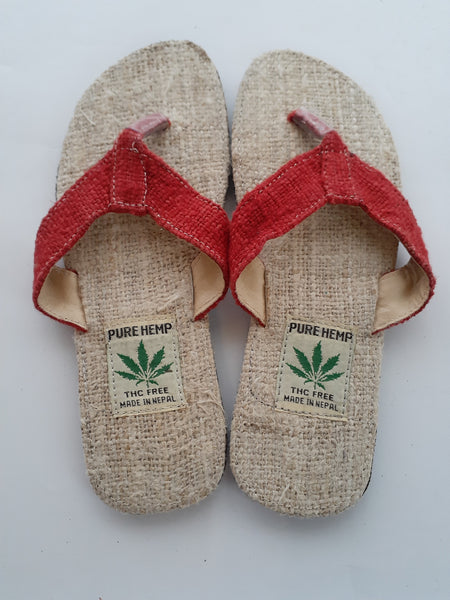 Handmade Colorful Nepalese Hemp Sandals / Thongs / Slides / Flip-flops / Jandals - Brick Red