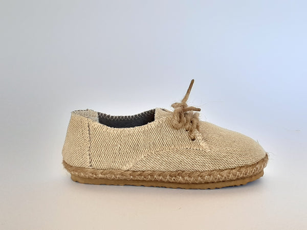 Children's Handmade Hemp Lace-up Shoes / Natural