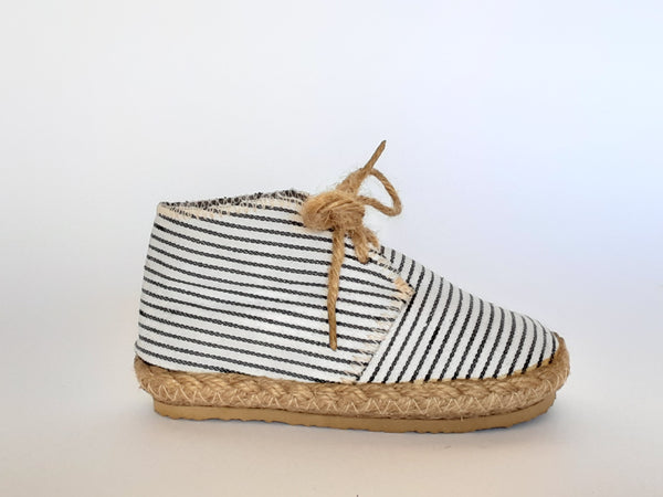 Children's Handmade Hemp Lace-up Shoes / Striped