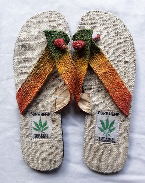 Handmade Colorful Nepalese Hemp Sandals / Thongs / Slides / Flip-flops / Jandals - Orange Tie-dye