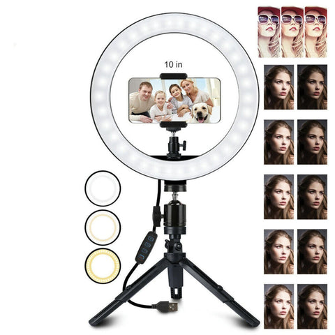 "Image of 10"" Compact LED Ring Light w/ Tripod"