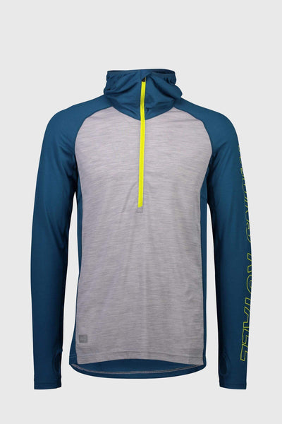 Temple Tech Hood - Grey Marl / Oily Blue
