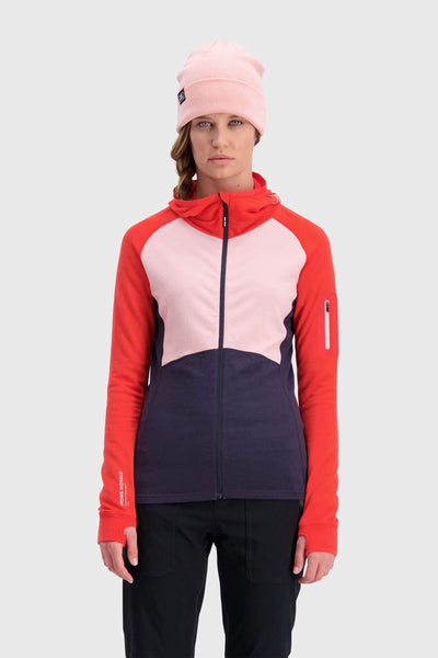Ascend Midi Full Zip Hood - 9 Iron / Poppy / Rosewater