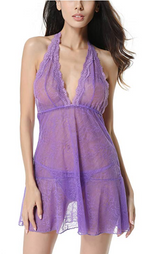 Load image into Gallery viewer, Lyps Babydoll Sexy Lingerie with G-string (Purple)