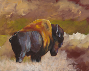Print, Bull Bison on the Prairie