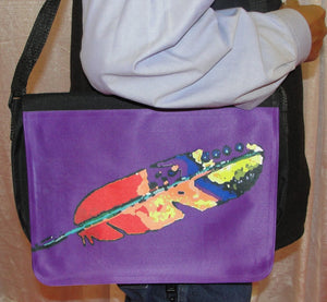 Bag, Computer or Reporter Bag w/Flap; Osage/Cherokee Art; Purple Feather