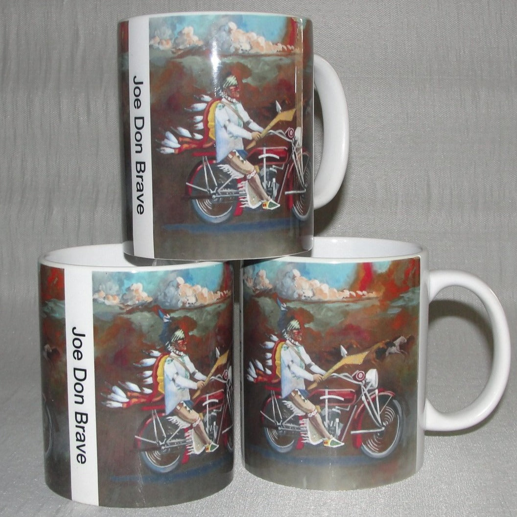 Mug, Coffee; Osage Warrior on an Indian Motorcycle