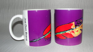 Mug, Coffee; Feather on Purple Background