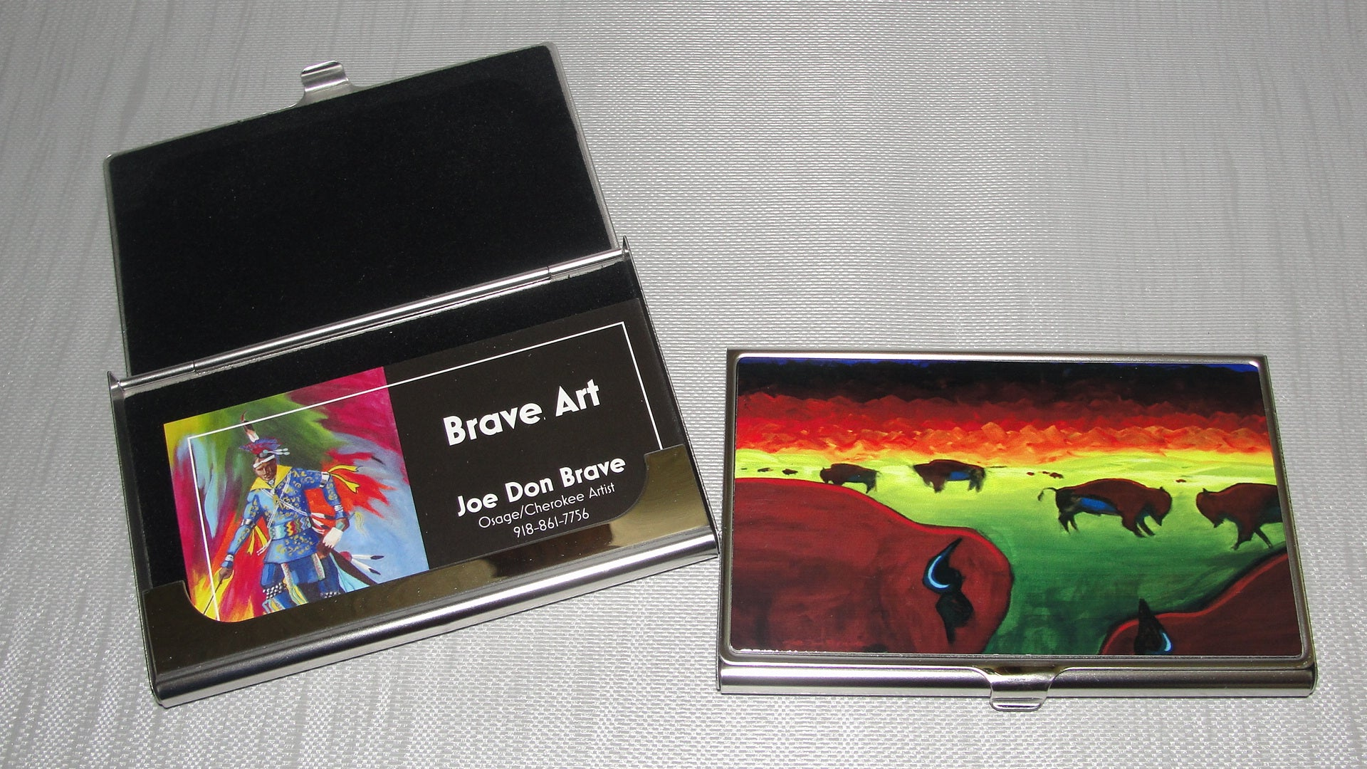 Business Card Holder; Bison on the Prairie