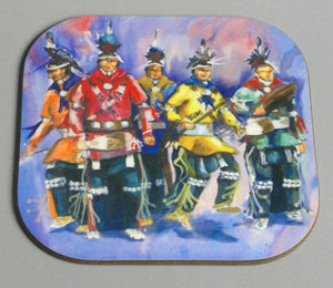 Coasters, 5 Osage Straight Dancers, Native Art