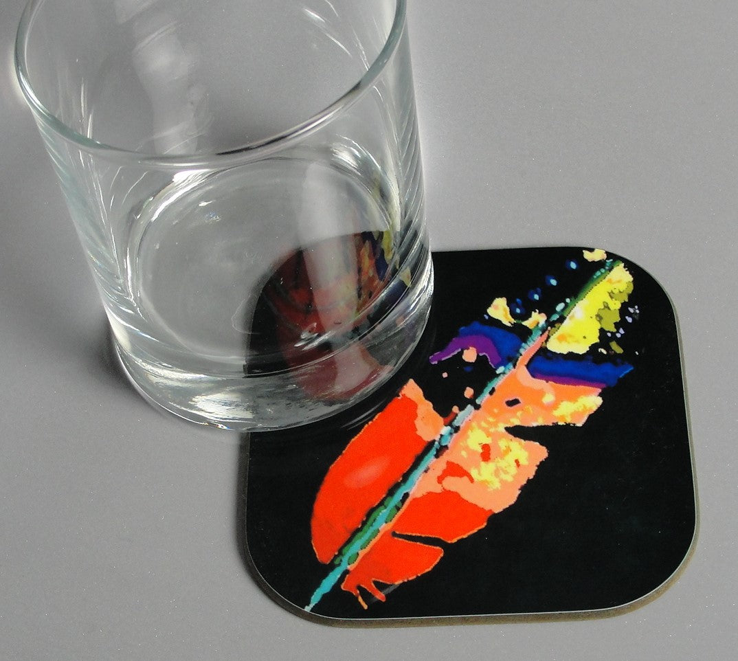 Coasters, Feather on Black Background, Native Art