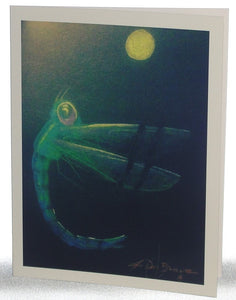 Note card, Dragonfly at Night