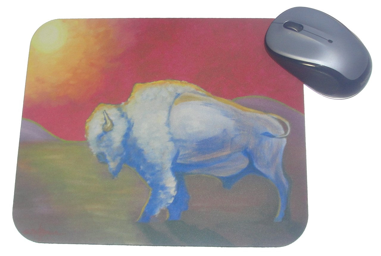 Mouse Pad, White Bison