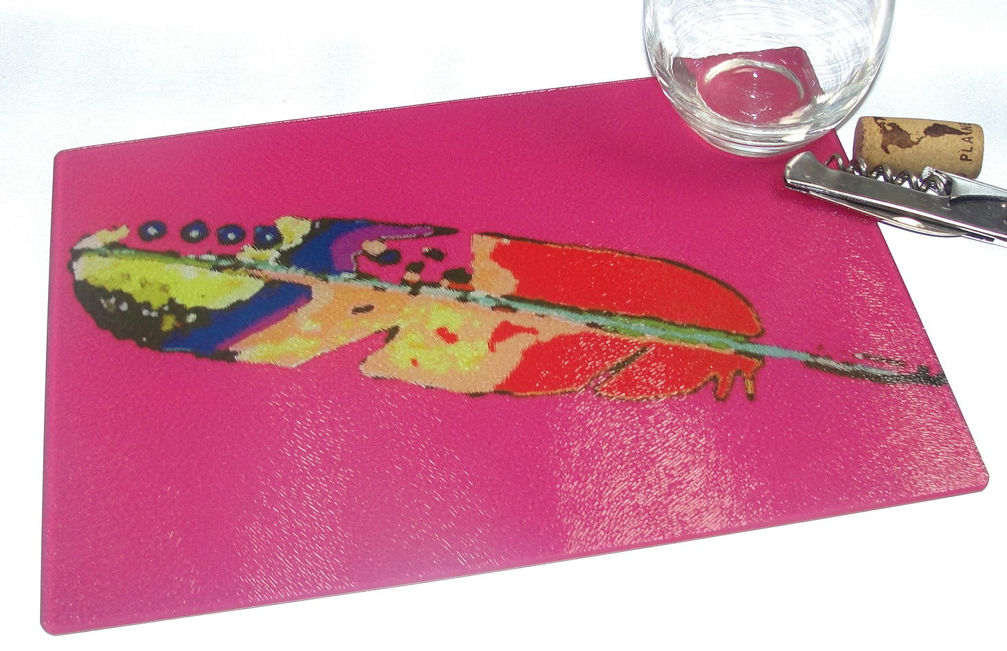 Cutting Board, Glass, Feather with Magenta Pink Background