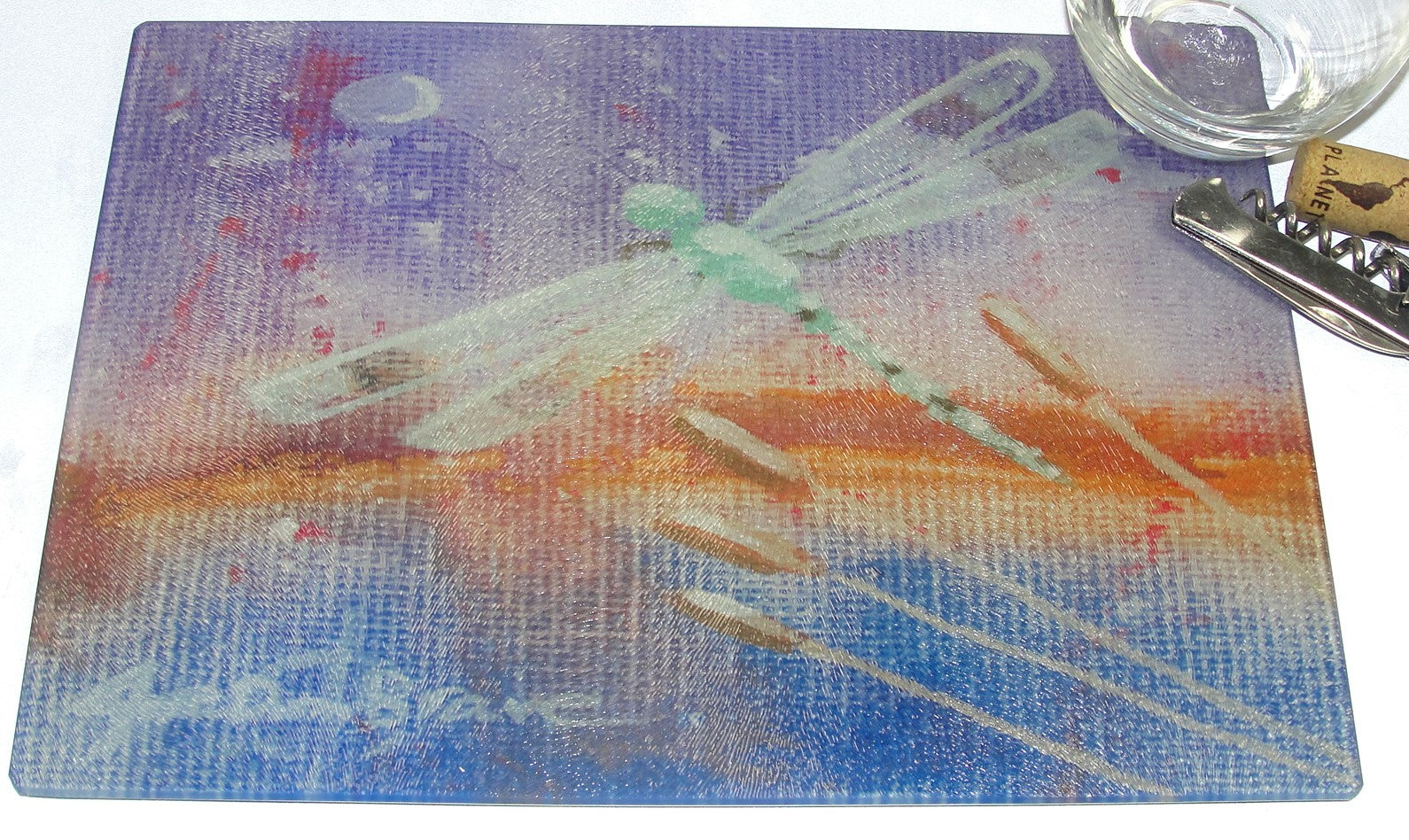 Cutting Board, Glass, Dragonfly on Purple Background