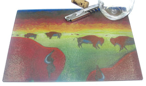 Cutting Board, Glass, Bison Herd on the Prairie
