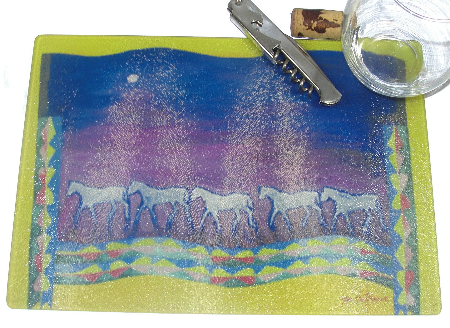 Cutting Board, Glass; Osage Blanket with Horses