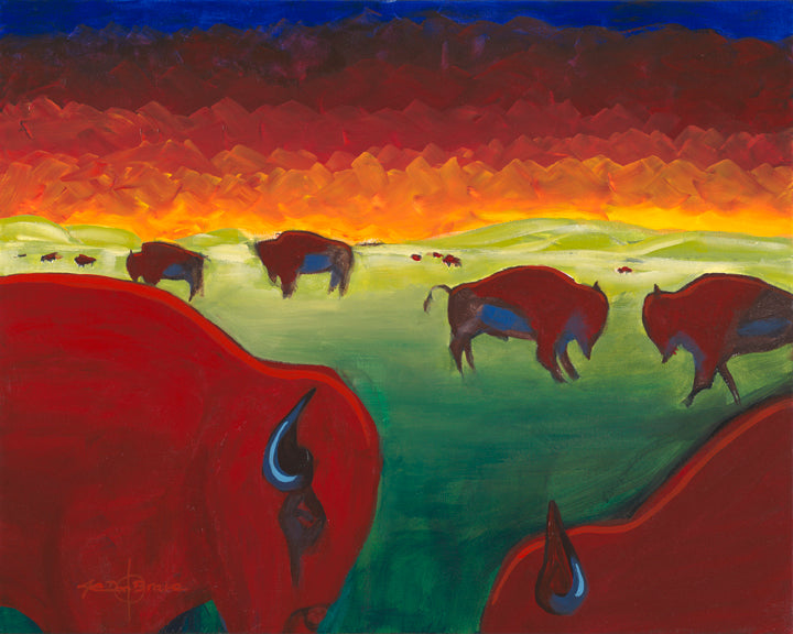 Original Painting, Bison Herd