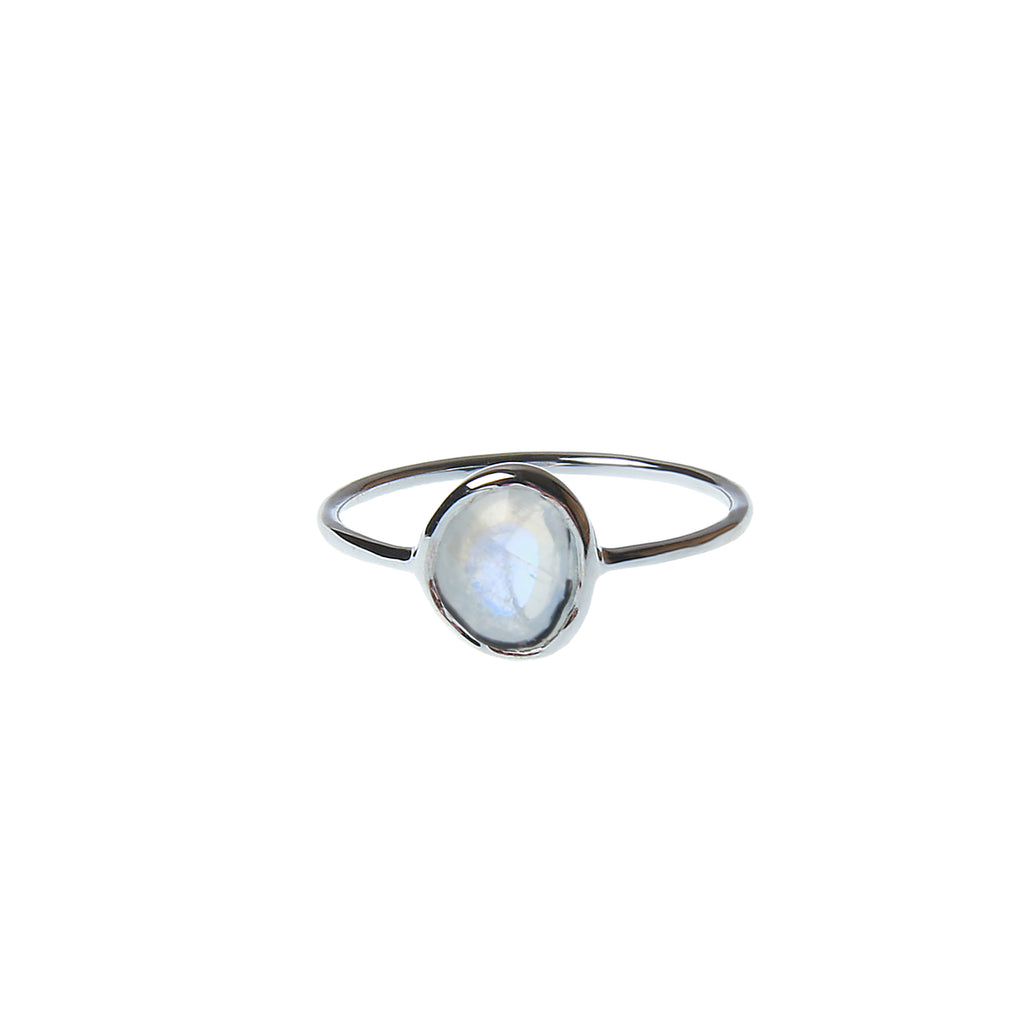 Silver ring with real moonstone