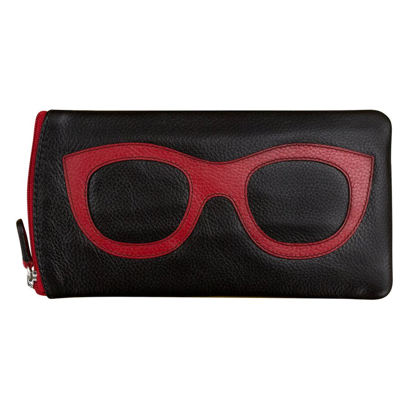 Leather Eyeglass Case- Black/Red