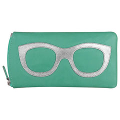 Leather Eyeglass Case- Turq/Silver