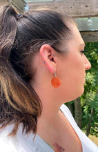 Load image into Gallery viewer, Orange Disc Wood Earrings