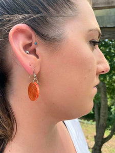 Orange Disc Wood Earrings