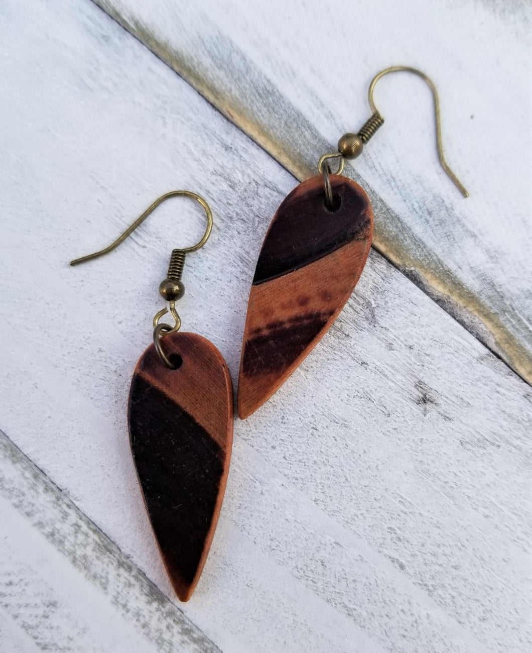 Burned Wood Tear Drop Earrings