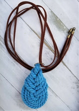 Load image into Gallery viewer, Blue Macrame Wrap Necklace