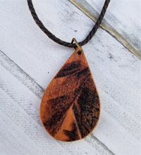 Load image into Gallery viewer, Burned Wood Teardrop Pendant