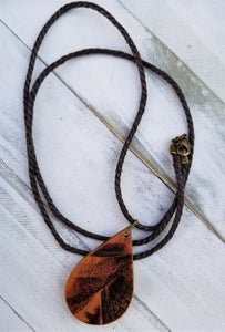 Burned Wood Teardrop Pendant