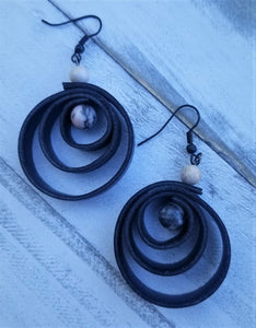 Faux Leather Spiral Earrings