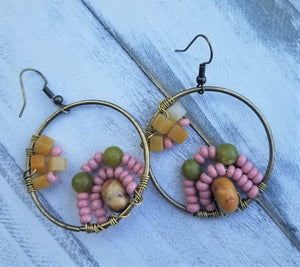 Boho Soft Rose Beaded Earrings