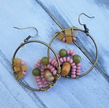 Load image into Gallery viewer, Boho Soft Rose Beaded Earrings