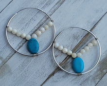 Load image into Gallery viewer, Turquoise Pop Hoops