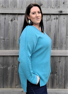 Dusty Teal V-Neck Sweater